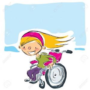 20561039-Bande-dessin-e-heureuse-sourire-jeune-fille-blonde-dans-un-fauteuil-roulant-manuel-magenta-mouvement-Banque-dimages